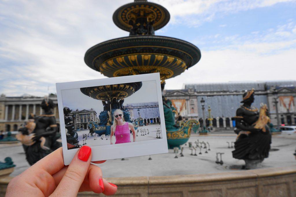 Place de la Concorde fountain - Polaroid of the fountain in front of the fountain itself