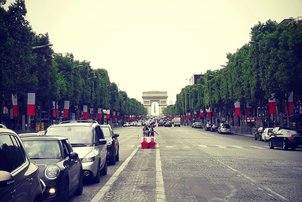 Champs Elysees from the middle of the road
