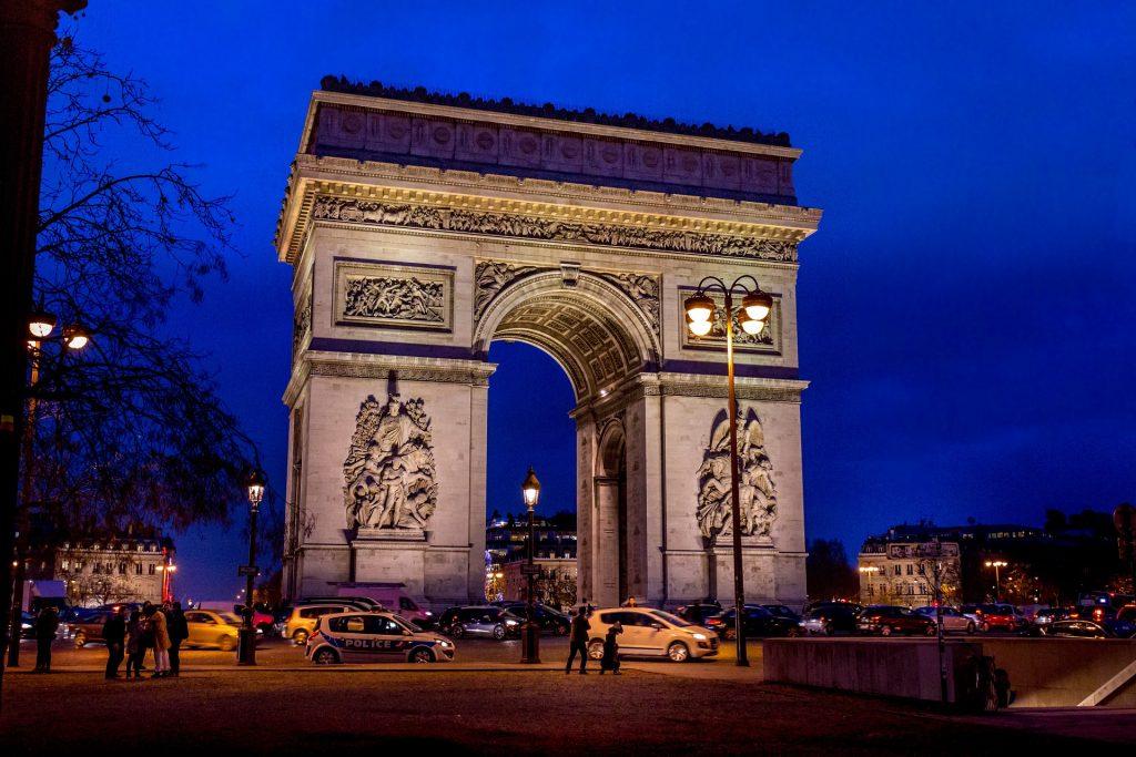 Arc de Triomphe lit up at night