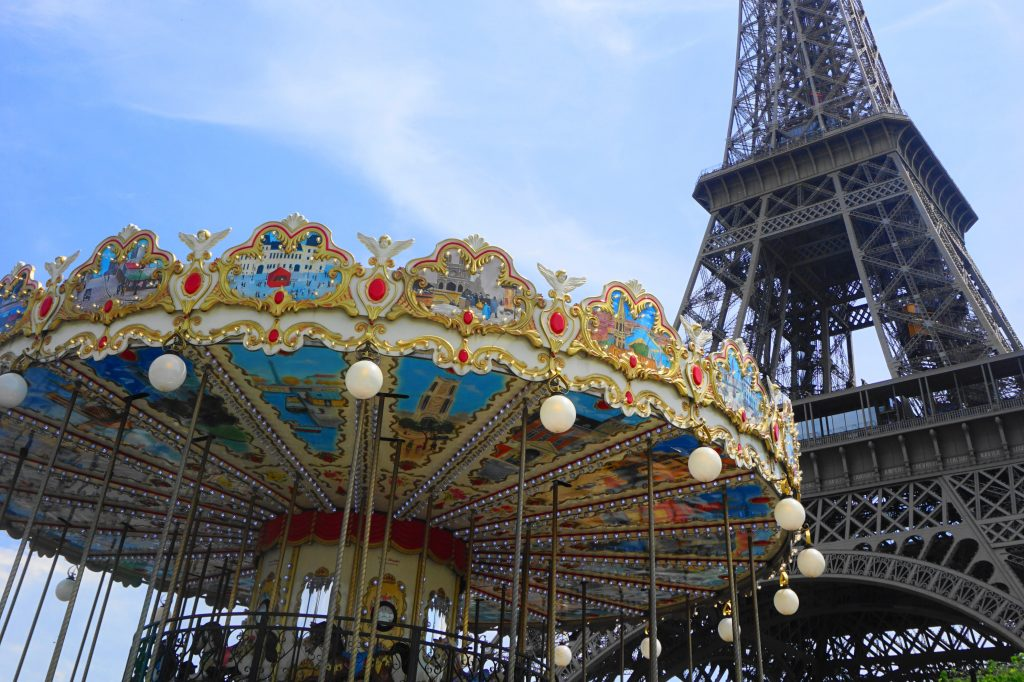 Carousel at the foot of Trocadero Gardens with the Eiffel Tower in the background