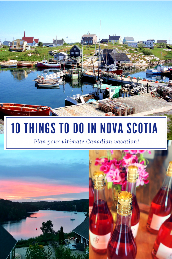 Discover the top 10 activities in Nova Scotia, Canada. Explore Peggy's Cove, sail through the Atlantic, and feast on fresh lobster! #novascotia #peggyscove #lunenburg #mahonebay #winetasting #travelcanada